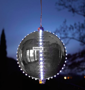 15cm Big Meteor Light Up Bauble - Silver