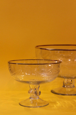 Gold Rimmed Glass Etched Bowl