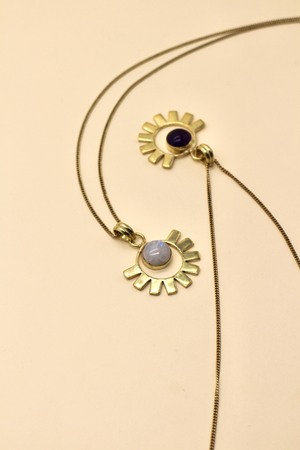 Sun and Stone Brass Necklace