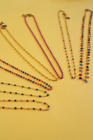 Enamel dot necklaces