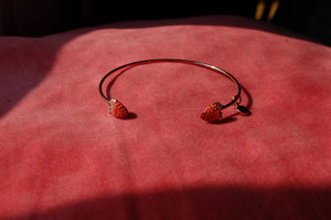 Enamel Strawberry Brass Bangle