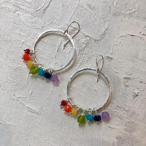 Silver plated rainbow earrings, made with semi-precious stones. Photo ©lwl