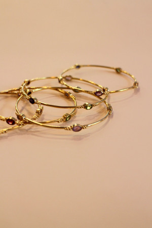 Gold Plated Brass Bead Bangle