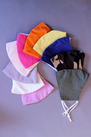 Re-usable cotton face masks with adjustable nose bridge and ear straps