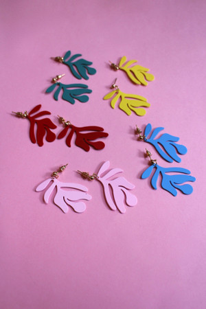 Coated Leaf Drop Earrings