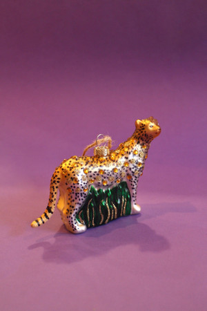 Cheetah Glass Ornament