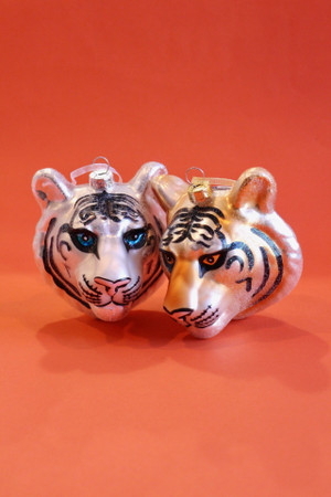 Glass Tiger Head Ornament
