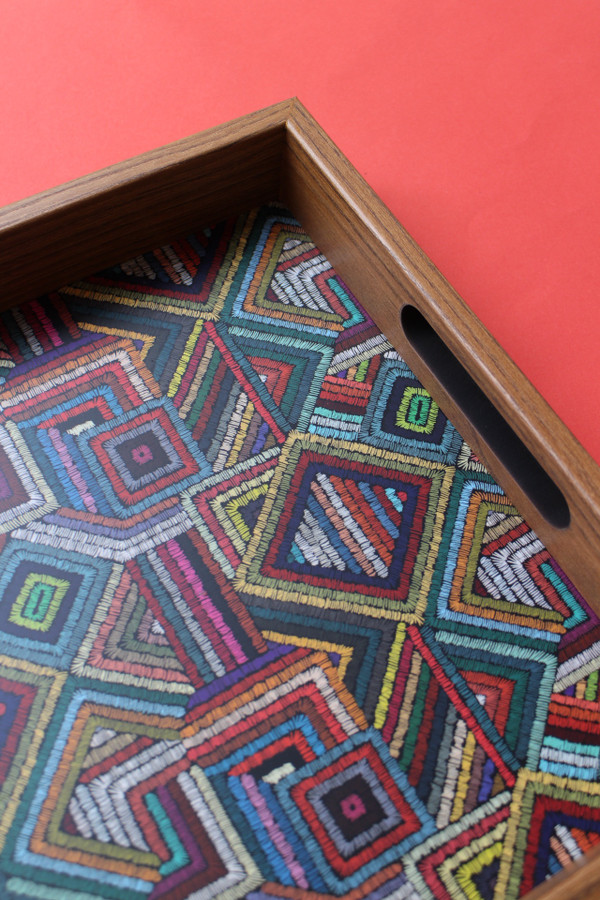 Colourful shapes tray - detail