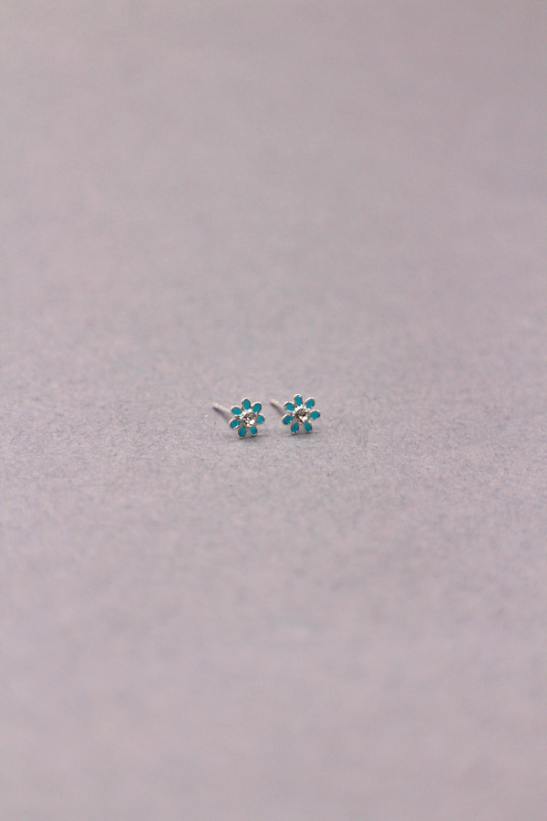 Tiny Silver and Enamel Daisy Stud