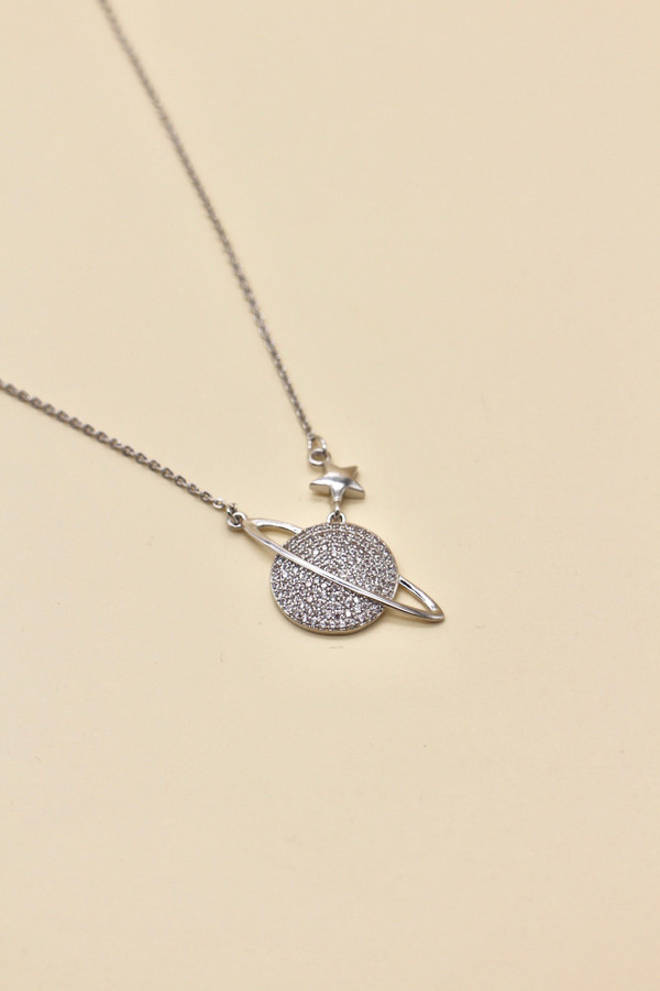 Platinum Plated Planet Necklace