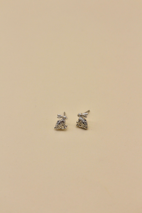 Sitting Hare Silver Plated Earring