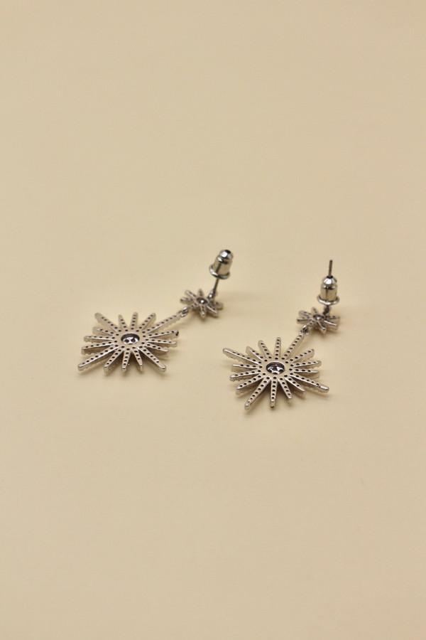 Celestial Burst Platinum Plated Earrings