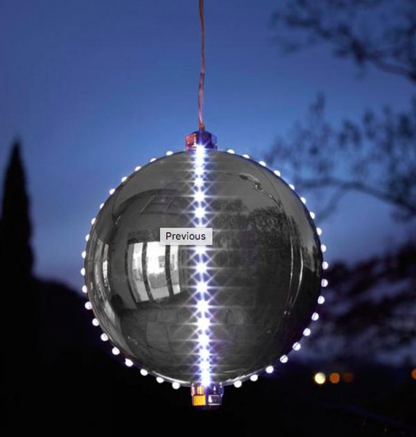 15cm Big Meteor Light Up Bauble - Silver
