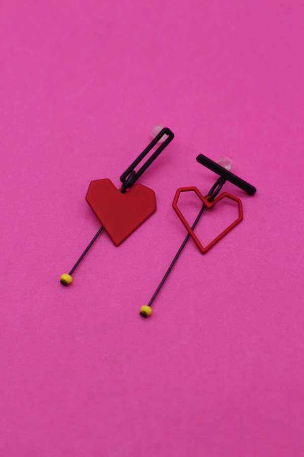Geometric Heart Earrings