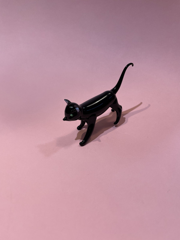 glass black cat