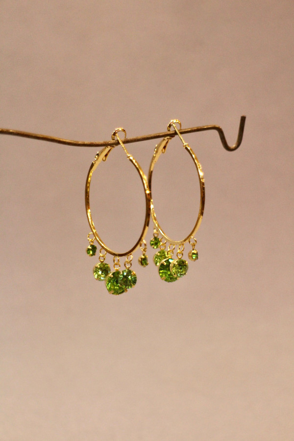 Crystal Drop Hoop Earrings