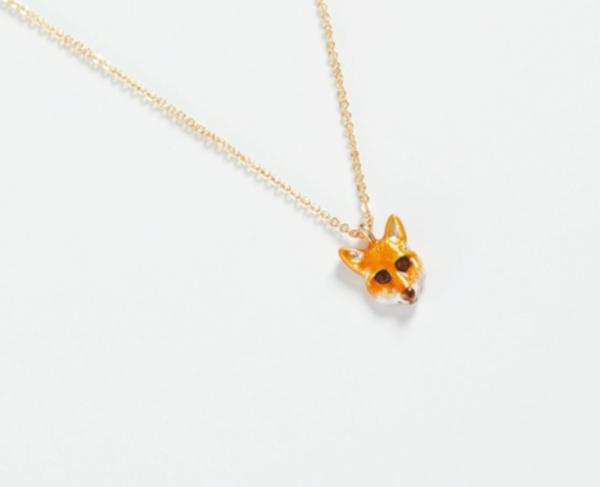 Enamel Fox Necklace