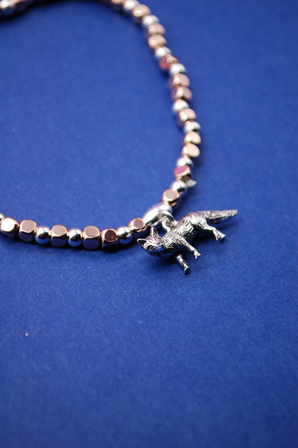 Fox Silver Plated Bead Bracelet