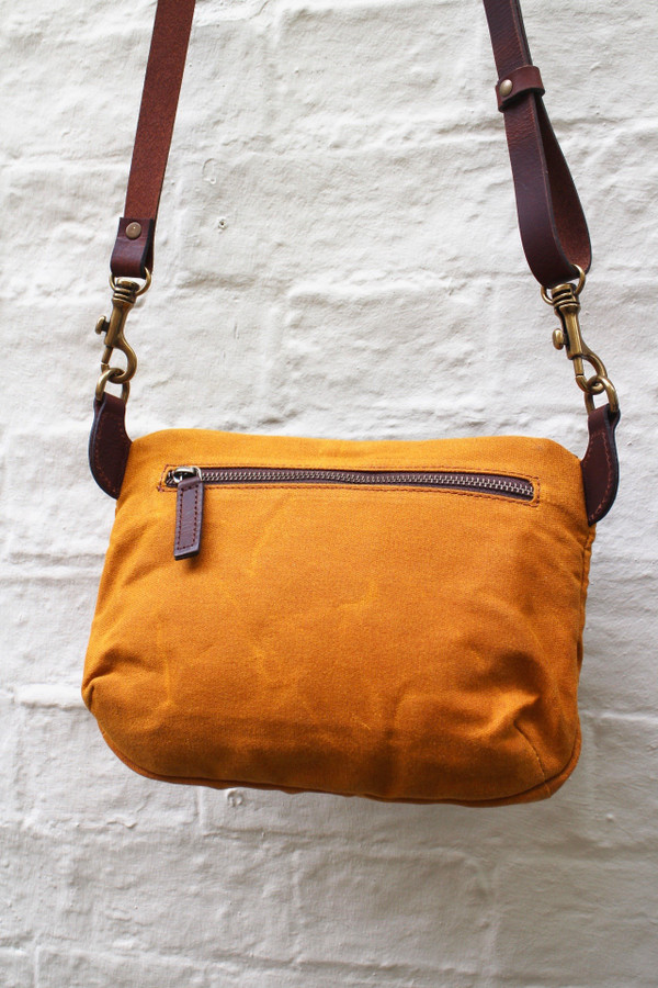 Waxed Canvas and Leather Side Bag