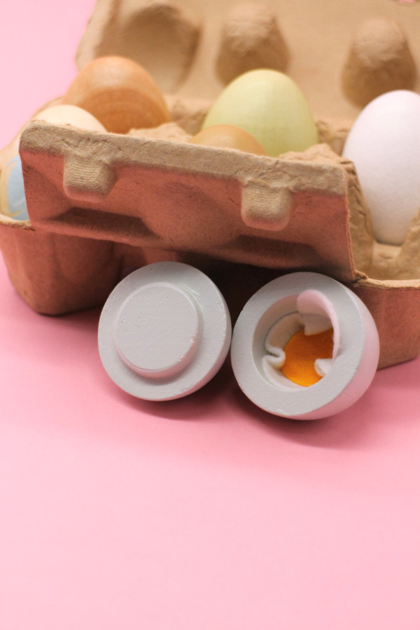 Wooden Eggs in Box