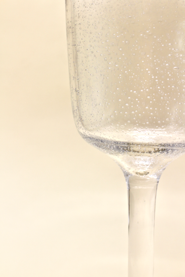 Blue Rimmed Wine Glass