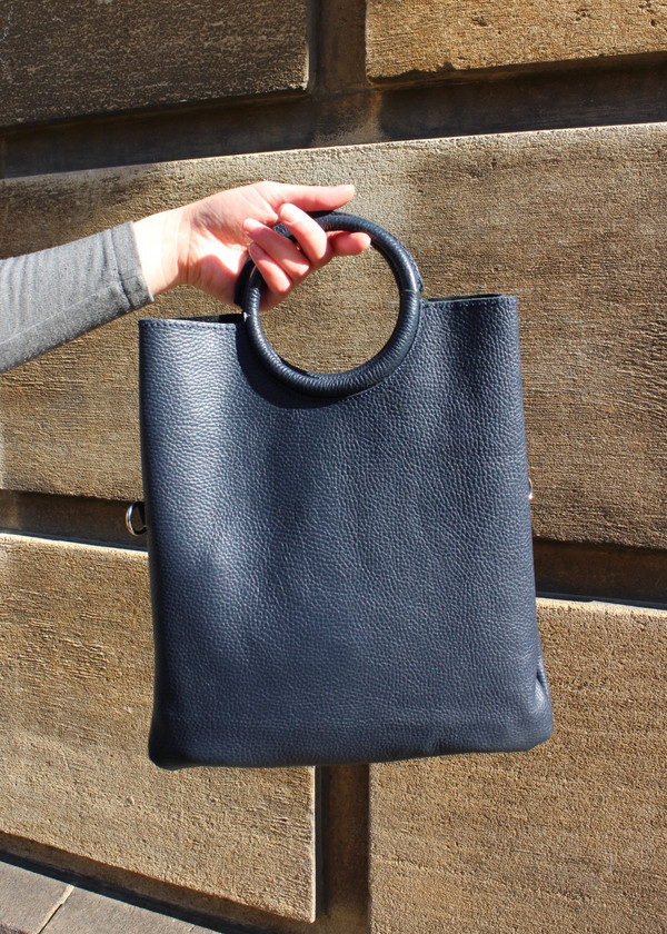 Round handle bag - navy