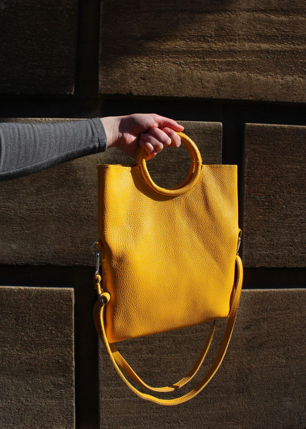 Round handle bag - yellow
