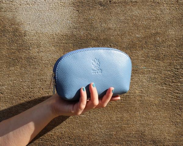 Leather clutch - denim
