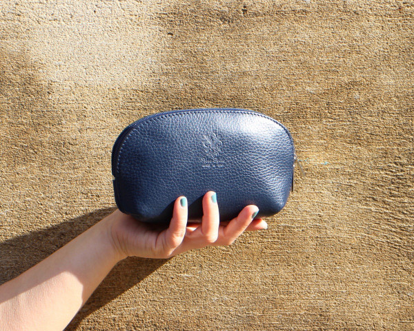 Leather clutch - navy