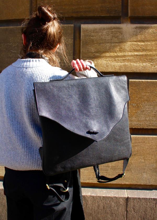 Washed leather rucksack - black