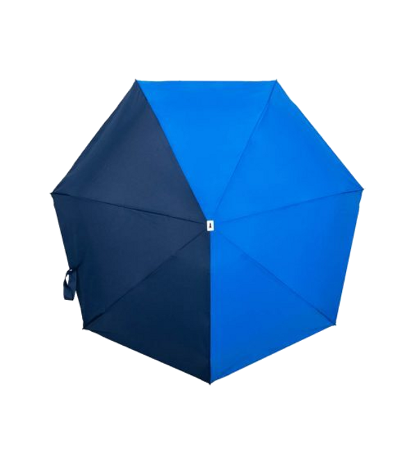 Bicolour micro umbrella - open, navy and royal blue