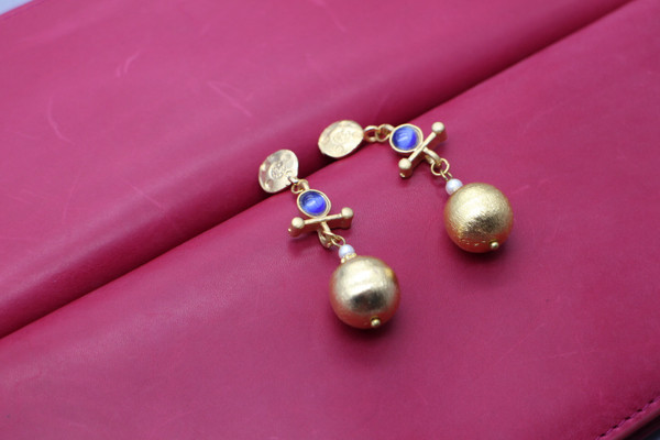 Ball drop earrings - gold and blue