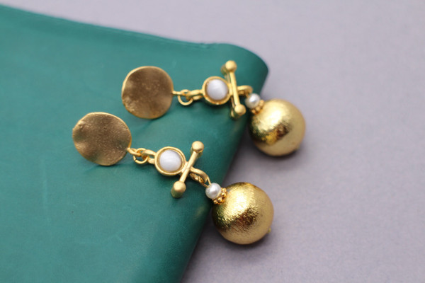 Ball drop earrings - gold and white