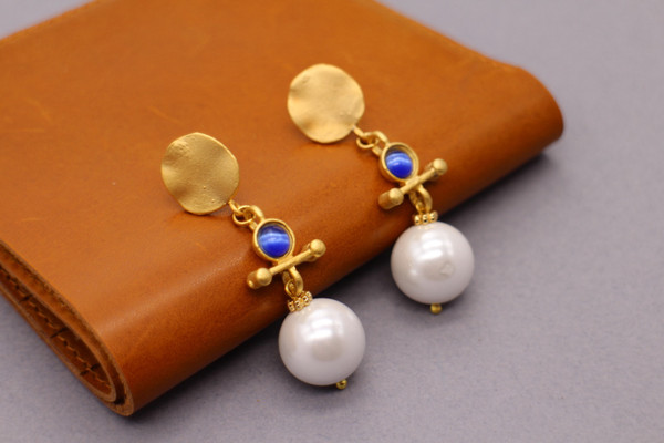 Ball drop earrings - blue and white