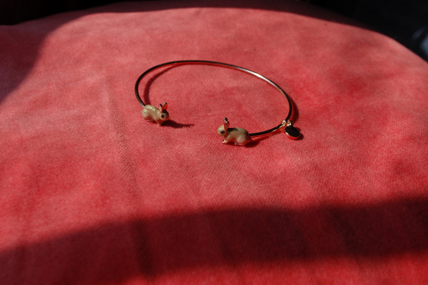 Enamel Rabbit Bangle
