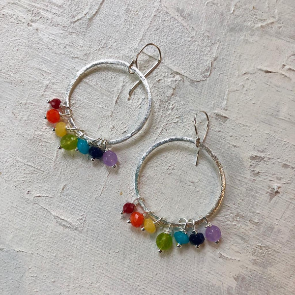 Silver plated rainbow earrings, made with semi-precious stones. Photo ©lwl
