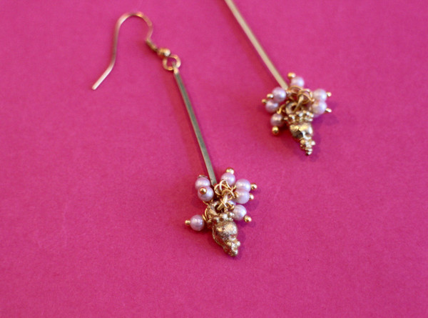 Bar and Pearl Cluster Earring