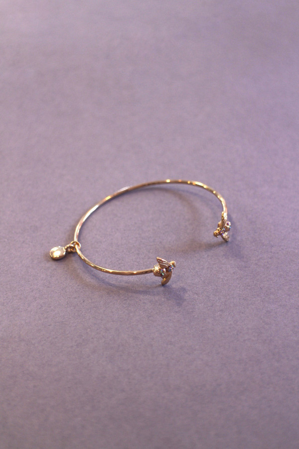 Gold Pave Bee Bangle