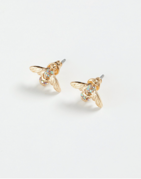Gold Pave Bee Stud Earrings