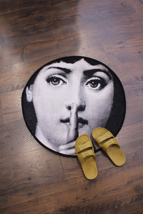 Shh rug with shoes for scale