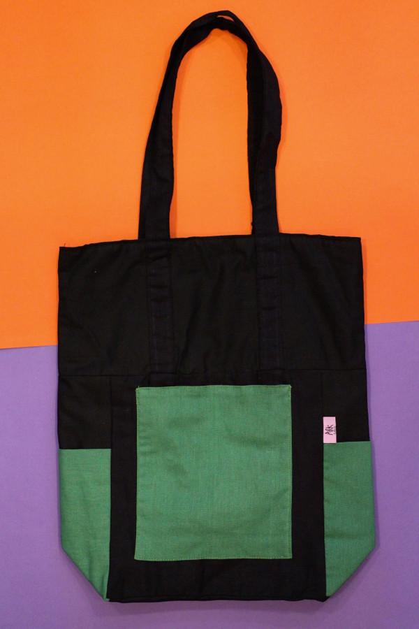 Contrast Pocket Cotton Bag