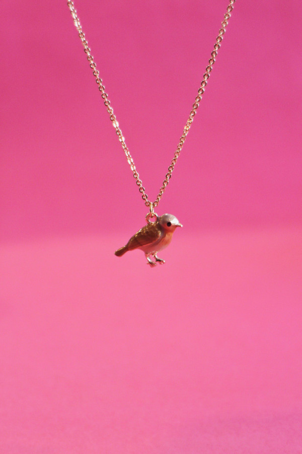 Enamel Robin Short Necklace