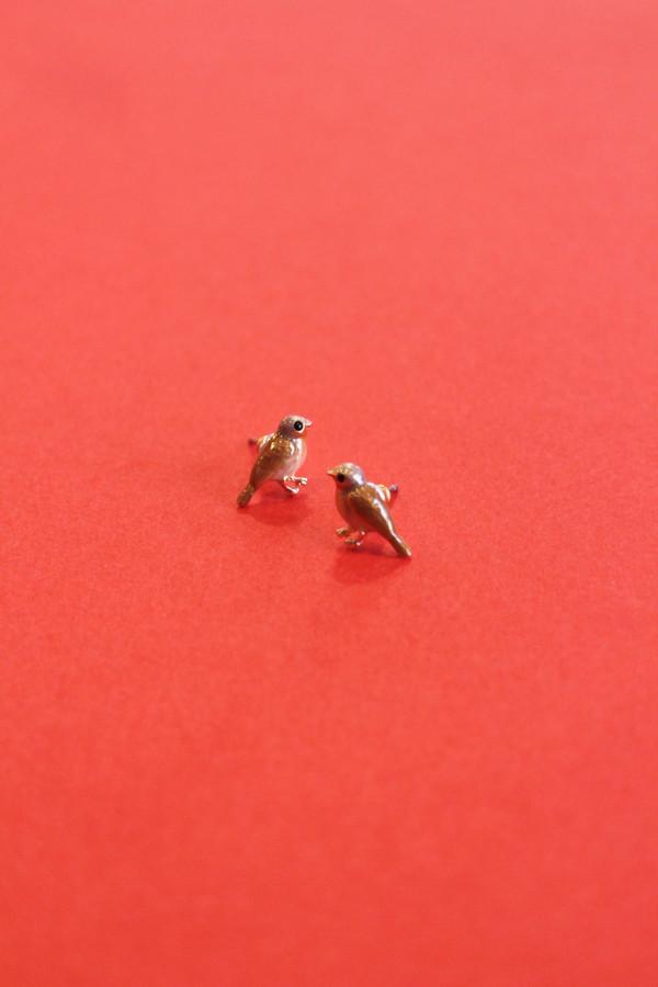 Enamel Robin Stud Earrings