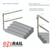 Ezyrail - Variable Vertical Corner (Galvanised) Stanchion w/ Base Fixing Plate