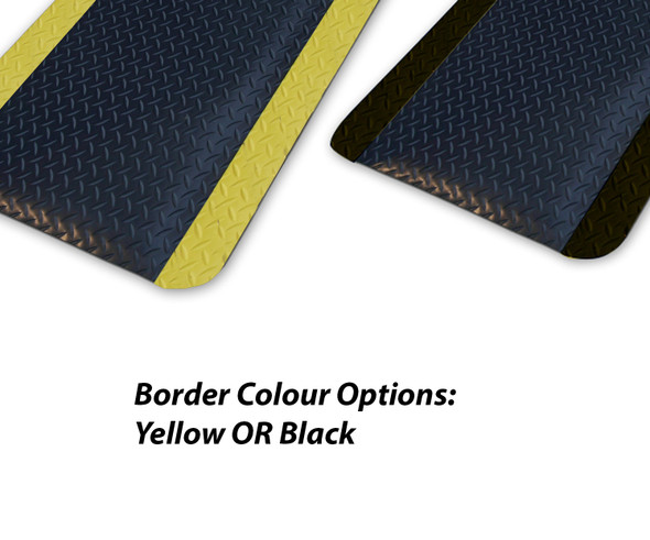 Anti-Fatigue Mat Diamond Plate Sponge 900mm X 1500mm - Black OR Yellow Border