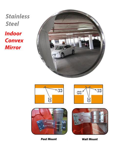 Indoor Convex mirror - Stainless Steel -  600mm