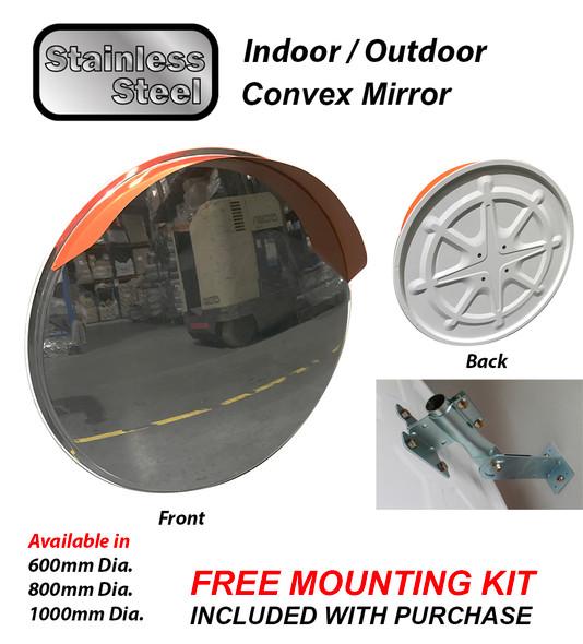 Indoor / Outdoor Convex Mirror - Stainless Steel - 600mm, 800mm, 1000mm