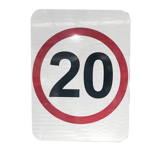20km Speed Restriction Sign (450mm x 600mm) - Class 1 Reflective Aluminium