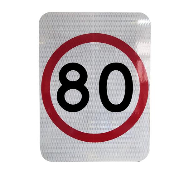 80km Speed Restriction Sign (450mm x 600mm) - Class 1 Reflective Aluminium