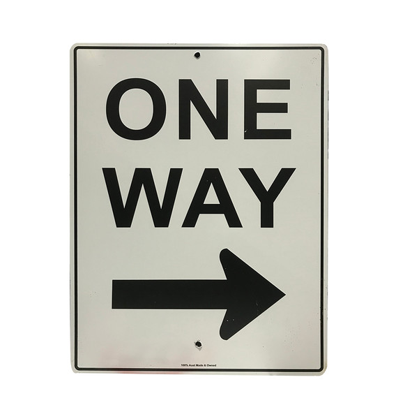 One Way Sign with Right Arrow (450mm x 600mm) - Metal